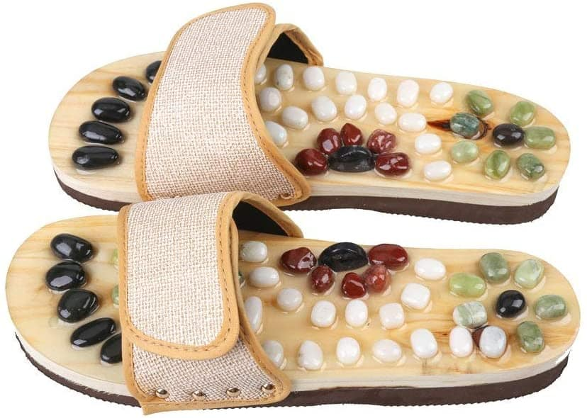Romonacr Massage Slippers with Natural Cobblestones