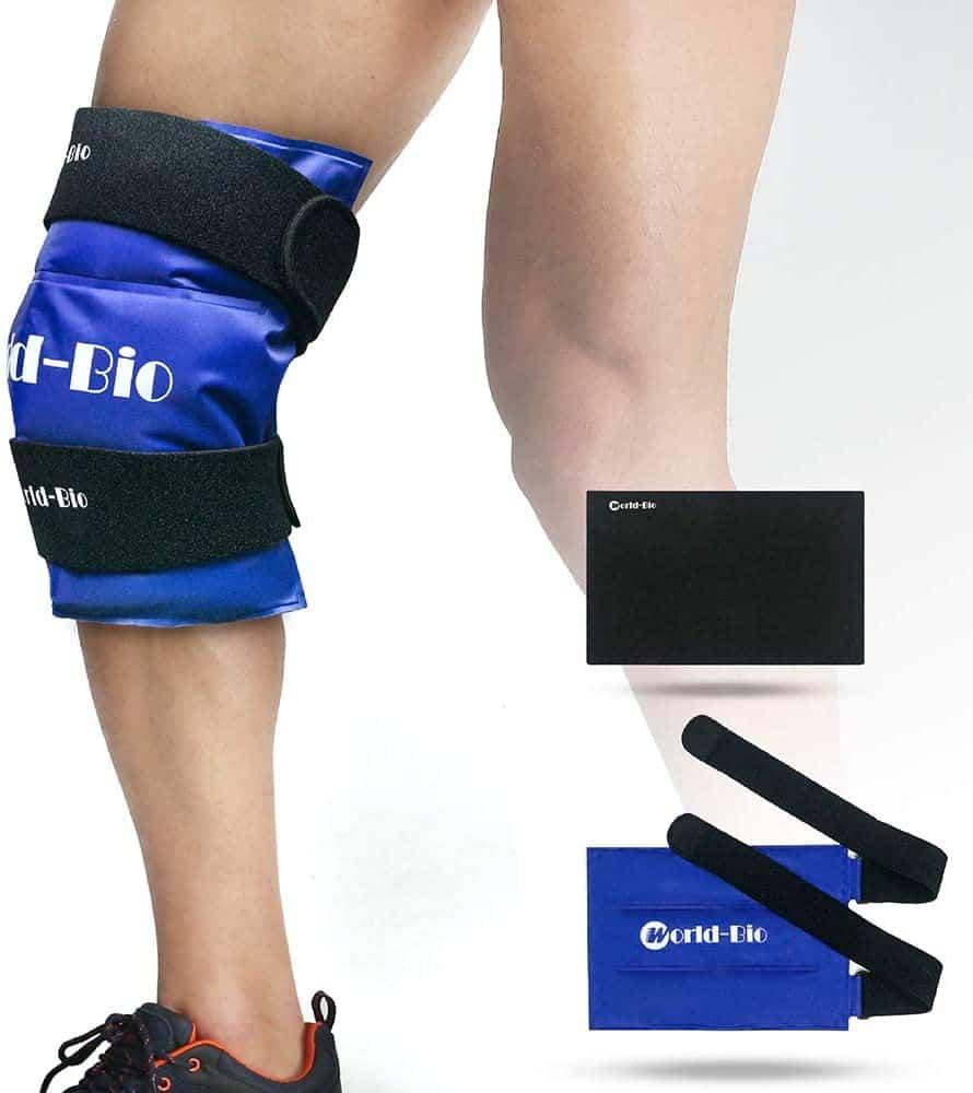 WORLD-BIO Knee Ice Gel Pack Wrap for Injuries